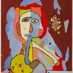 Gaston Chaissac, Visage aux hachoirs, 1947/48. Gouache sur papier canson marouflé. Collection particulière (c) Adagp, Paris 2013 %%