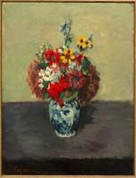 Paul Cézanne Géraniums et Pieds d'aoulette dans un petit vase de Delft Vers 1873 Huile sur toile Signé en bas à gauche : P. Cézanne 52 x 39 cm Collection particulière, France © Christian Baraja