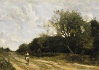 Jean-‐Baptiste-‐Camille Corot Le cavalier sur la route 1860-‐1865 Huile sur toile 40 x 56,5 cm Signé en bas à droite : COROT Collection Pérez Simón, Mexico ©Arturo Piera