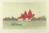 Claes Oldenburg, Proposed monument for Mill Rock, East River, NYC : slice of strawberry cheesecake, 1992 Aquatinte BnF, dépt. des Estampes et de la photographie © Claes Oldenburg