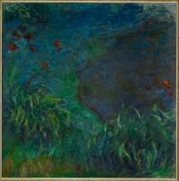 Claude Monet Hémérocalles au bord de l'eau Vers 1914-‐1917 Huile sur toile 200 x 200 cm Cachet de l'atelier en bas à droite : Claude Monet Collection particulière par l'intermédiaire du Museum of Fine Arts, Houston Collection particulière ©Collection particulière