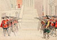 La garde de Richelieu lui rend les honneurs, estampe de Maurice Lenoir. 1910. © Paris - musée de l'Armée. Dist RMN-GP