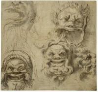 Perino del Vaga Trois mascarons vus de face, une tête d'aigle et une tête de lion ornementales vues de profil ; un homme nu vu de dos Plume et encre brune, lavis gris, papier filigrané lavé gris-beige