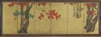 Tawaraya Sori (actif vers 1764-1780). Erables en automne. Paravent. Harvard Art Museums. Promised gift of Robert S. and Betsy G. Feinberg