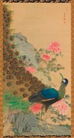 Maruyama Okyo (1733-1795). Paon et pivoines, 1768. Rouleau vertical (kakemono). Havard Art Museums. Promised gift of Robert S. and Betsy F. Feinberg