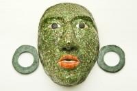 Masque funéraire de Calakmul avec ornements d'oreilles. Classique récent  © Museo Regional de Campeche, fort de San Miguel, ville de Campeche, Campeche, Mexique Photographe: Ignacio Guevara