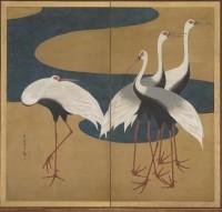 Suzuki Kiitsu (1796-1858). Grues. Paire de paravents. Havard Art Museums. Promised gift of Robert S. and Betsy G. Feinberg