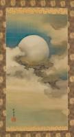 Suzuki Shonen (1849-1918). Lune dans les nuages. Rouleau vertical (kakemono).