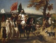 Eugène Delacroix. Le Kaïd, chef marocain, dit aussi Chef marocain visitant une tribu ou L'Offrande du lait, 1837. Huile sur toile. Nantes, musée des Beaux-Arts (c) RMN-Grand Palais . Photo : Gérard Blot