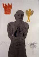 Marie-Hélène Cauvin, Bullet Proof Vest, 2007, encre, fusain, aquarelle, linotype sur papier, 112 x 76 cm, Montréal, collection de l'artiste, Photo Paul Litherland