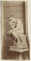Victor Pannelier (1840- après 1907) Le Penseur en terre, retouche à la mine de plomb Juillet 1882 épreuve sur papier albuminé