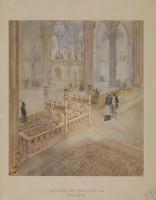 Viollet-le-Duc, Vue du transept sud de l'Abbaye royale de Saint-Denis, l'architecte discutant du projet de remise en place des tombeaux, vers 1861 (c) Ministère de la Culture - Médiathèque du Patrimoine, Dist. RMN-Grand Palais / Images RMN-GP