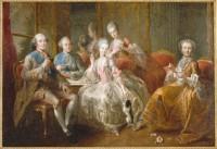 La Famille du duc de Penthièvre en 1768 dit aussi La Tasse de Chocolat Jean-Baptiste Charpentier, le Vieux (1728-1806) MV7716 ©RMN - Grand Palais (Château de Versailles) / Gérard Blot