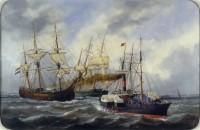 Navires entrant au Havre derrière un remorqueur Edouard-Marie Adam 1882, Le Havre © Musée national de la Marine / P.Dantec
