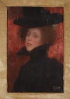 Gustav Klimt, Etude de tête féminine sur fond rouge, 1897-1898. Huile sur toile  © Klimt Foundation, Vienne