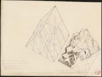 Eugène Viollet-le-Duc, Système cristallin des restes d'aiguilles séparant le glacier d'Envers de Blaitière de la Vallée Blanche, à l'angle. Moitié d'un rhomboèdre. Restes actuels vus du Tacul (c) Ministère de la Culture - Médiathèque du Patrimoine, Dist. RMN-Grand Palais / Images RMN-GP