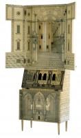 Piero Fornasetti, Cabinet Trumeau Architectura. Lithiographie sur bois, 1951
