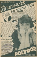 La môme Piaf, supplément au catalogue Polydor N° 88 Brunswick Polydor, février 1936 BnF, Audiovisuel