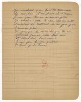 Chanson autographe d'Édith Piaf « si tu me quittais je te tuerais » sur papier cahier, à l'encre bleu, 1963 ( ?) BnF, Arts du spectacle