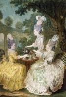 Carmontelle (1717-1806). Mme la Marquise de Montesson, Mme la Marquise du Crest et Mme la Comtesse de Damas prenant le thé dans un jardin (c) Musée Carnavalet / Roger-Viollet