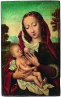 Peintre anonyme de l'école flamande, Actif au XVIème siècle, Vierge allaitant l'enfant Jesus. Non datée. Huile sur bois. Collection Gerstenmaier © Photo: Collection Gerstenmaier