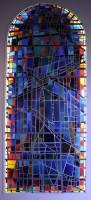Alfred Manessier / atelier Lorin, Paysage bleu, 1963. Réplique du vitrail de la baie sud du choeur de l'église Saint-Michel, Les Bréseux (Doubs). Coll. musée des Beaux-arts de Reims. © ADAGP, Paris, 2015 © Photo C. Devleeschauwer