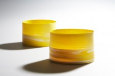 LEE In-hwa, Vases Shadowed Color - Yellow Cylinders, 2015. Porcelaine. Prêt Gallery LVS