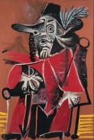 Pablo Picasso, Mousquetaire assis tenant une épée, 19 juillet 1969, Huile sur toile, 195 x 130 cm, Collection particulère © Succession Picasso 2015 / photo Béatrice Hatala