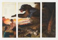 Walton Ford, Lossof the Lisbonn Rhinoceros, 2008. Aquarelle, gouache, encre et crayon sur papier, 3 panneaux © Christopher Burke Studio / Courtesy Walton Ford et Paul Kasmin Gallery