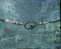 Palette am Seil [Palette suspendue à une corde], 1977 Huile, acrylique, émulsion et shellac sur toile 130 x 160 cm Städtische Galerie im Lenbachhaus und Kunstbau, Munich Photo : © Städtische Galerie im Lenbachhaus und Kunstbau, Munich