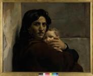 Léon Cogniet (1794-1880), Tête de femme et d'enfant, Esquisse pour la Scène du Massacre des Innocents, vers 1824, huile sur toile, Orléans, Musée des Beaux-Arts © Musée des Beaux-Arts cliché François Lauginie