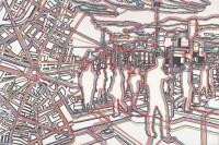 Bastille – réseaux, 2007. Série « Bastille – Dérives ». Huile et acrylique sur toile, 200 x 300 cm. Centre Pompidou, Musée national d'art moderne, don de l'artiste, 2012 © Gérard Fromanger, 2016 © Collection Centre Pompidou/Dist. RMN-GP photo Philippe Migeat