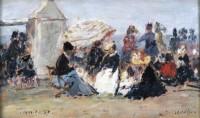 Boudin, Eugène-Louis (1824-1898), Scène de plage à Trouville. Huile sur panneau. Collection particulière. Courtesy Galerie de la Présidence, Paris © Galerie de la Présidence, Paris