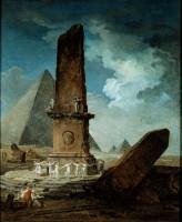 Hubert Robert. Obélisque brisé autour duquel dansent des jeunes filles, 1798. Huile sur toile (c) Musée des Beaux-Arts de Montréal, Brian Merrett
