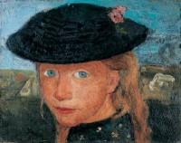 Paula Modersohn-Becker (1876-1907) Tête d'une jeune fille blonde coiffée d'un chapeau de paille Vers 1904, détrempe sur toile, 27 x 33,5 cm Kunst- und Museumsverein, Wuppertal © Medienzentrum, Antje Zeis-Loi / Kunst-und Museumsverein, Wuppertal