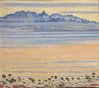 Ferdinand Hodler, Le Lac de Thoune et la chaîne du Stockhorn, 1905. Huile sur toile, 80,5 x 90,5 cm. Collection Christoph Blocher