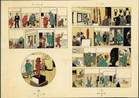 Hergé. Les Aventures de Tintin, L'Oreille cassée, 1956. Bleu de coloriage des planches 1 et 62, aquarelle et gouache sur épreuve imprimée, 29,7 x 21 cm. Collection Studios Hergé © Hergé/Moulinsart 2016