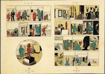 Hergé Les Aventures de Tintin L'Oreille cassée 1956 Bleu de coloriage des planches 1 et 62 aquarelle et gouache sur épreuve imprimée 29,7 x 21 cm Collection Studios Hergé © Hergé/Moulinsart 2016