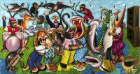 Moke, L'Orchestre dans la forêt, 1999 Acrylique sur toile, 141 × 264 cm CAAC – The Pigozzi Collection, Genève © Moke Photo : Maurice Aeschimann