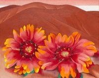Georgia O'Keeffe (1887-1986). Red Hills with Flowers (Collines rouges et fleurs), 1937. Huile sur toile, 50.8 x 63.5 cm. Chicago, The Art Institute of Chicago, legs d'Hortense Henry Prosser © The Art Institute of Chicago © Georgia O'Keeffe Museum / ADAGP Paris 2016