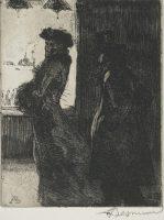 Albert Besnard (1849-1934), L'inconnue ou La Raccrocheuse (de la série «Elle»), 1900-1901, eau forte, 13,8 x 11 cm, Collection privée. Photo © Th.Hennocque