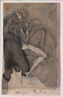 Couple enlacé ou cercle des amours, 1880– 1886, lavis d'encre (brune) ; plume-encre (noire) ; crayon au graphite Inscription(s) : en haut / en bas sur le papier réglé : Françoise Paolo-Virigile et Dante-Contemplations / l'amour profond comme les tombeaux Baudelaire / Abruzzesi très beau, D.05630, © musée Rodin, ph. J. de Calan