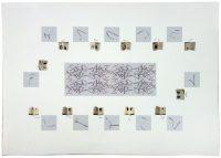 Nappe pour 12 couverts, 2016 Ghislaine Portalis Atelier national conservatoire de la dentelle du Puy, 2,70 x 1,60 4 couleurs, dentelle en incrustation sur toile de lin, 2774 heures de tissage Atelier national du point d'Alençon, 12 livrets de 12 x 15 cm 52 couleurs, 1711 heures de tissage