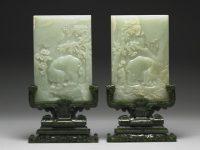 Paire d'écrans de table à décor d'éléphant et de prunier. Chine, Dynastie Qing, règne de Qianlong (1736-1795) Jade © Musée national du Palais, Taipei