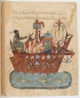 al-hârIth part pour un Voyage loIntaIn dans l'océan IndIen en coMpagnIe d'abû Zayd Al-Harîrî, Al-Maqâmât (Les Séances), miniatures et calligraphie d'Al-Wâsitî, Iraq, 1237. Fac-similé. © Bibliothèque Nationale de France - Paris