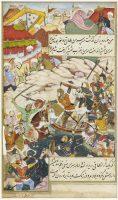 Prem Gujarâtî Le combat de Bâbur et de Sultan Ahmad Tambal pour la reconquête d'Andijan. Page d'un manuscrit du Bâbur-nâmaEcole mogholeVers 1589Gouache et or sur papierMNAAG.